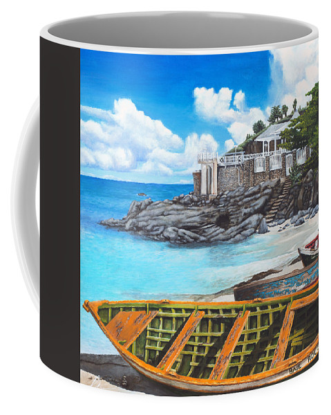 Sint Maarten Coffee Mug featuring the painting Baie Rouge by Cindy D Chinn