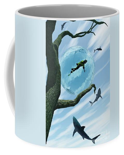 Surreal Coffee Mug featuring the digital art Bait by Richard Rizzo