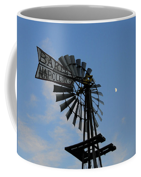 Windmill Coffee Mug featuring the photograph Baker Napoleon And The Moon by David Arment