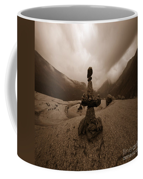 Stone Coffee Mug featuring the photograph Balance Point by Angel Ciesniarska