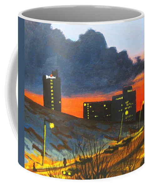 Sunset Coffee Mug featuring the painting Balcony View 2 by John Malone