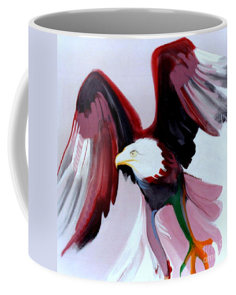 Birds Coffee Mug featuring the painting Bald-e by Marlene Burns