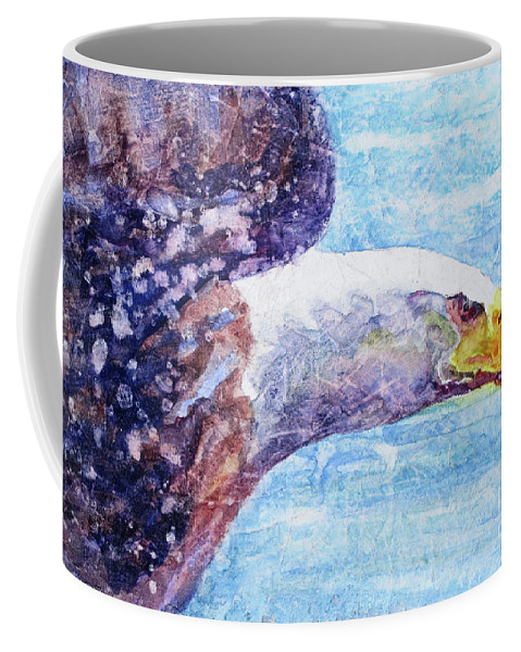 Bald Eagle In Flight Coffee Mug featuring the painting Bald Eagle Portrait 2 by Bonnie Rinier