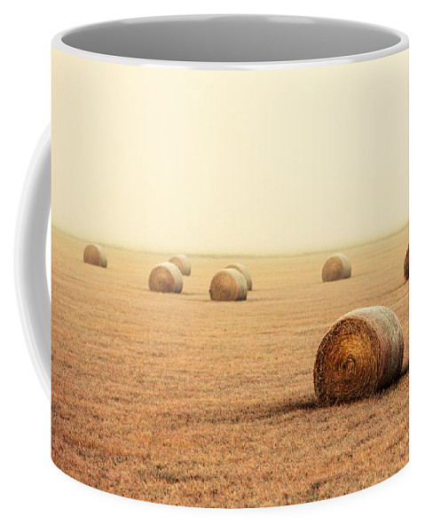 Fog Coffee Mug featuring the photograph Bales In The Fog by Todd Klassy