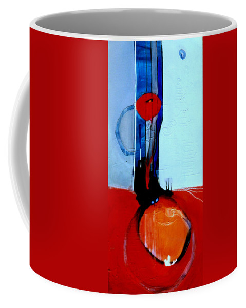 Abstract Coffee Mug featuring the painting Ball And Chain Outcome by Marlene Burns