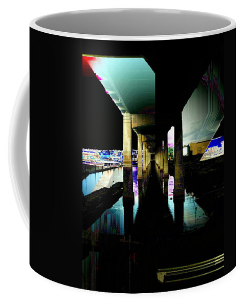 Seattle Coffee Mug featuring the digital art Ballard Bridge by Tim Allen