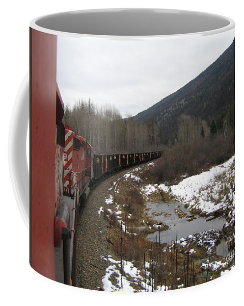 Photograph Train Mountain Snow Winter Tree Nature Coffee Mug featuring the photograph Ballast Train by Seon-Jeong Kim
