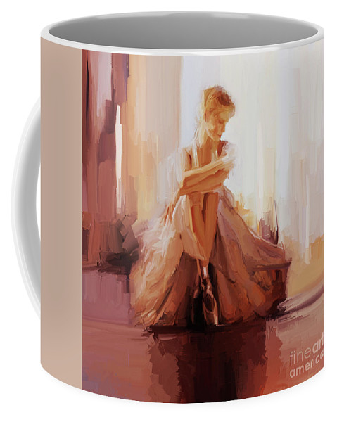 Ballerina Coffee Mug featuring the painting Ballerina Dancer Sitting On The Floor 01 by Gull G