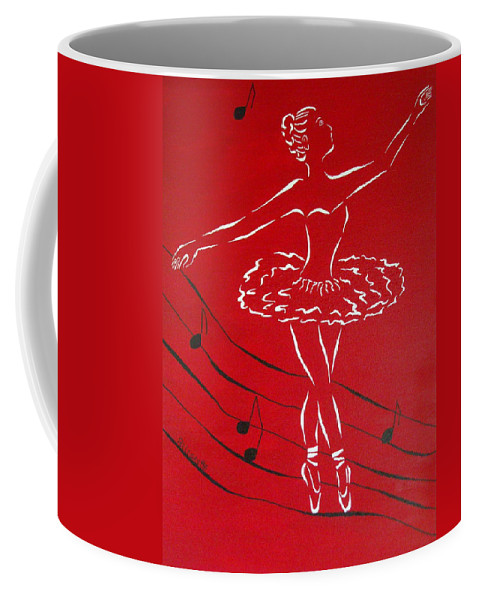 Allegretto Art Coffee Mug featuring the painting Ballerina In Red by Pamela Allegretto
