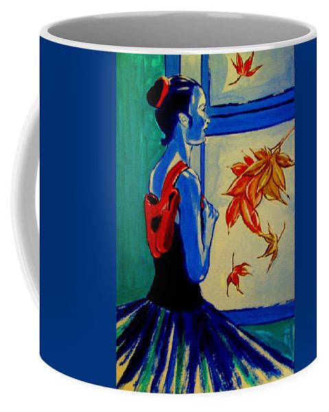 Classical Dancers Coffee Mug featuring the painting Ballerine En Automne by Rusty Gladdish