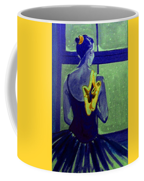 Ballet Dancers Coffee Mug featuring the painting Ballerine En Hiver by Rusty Gladdish