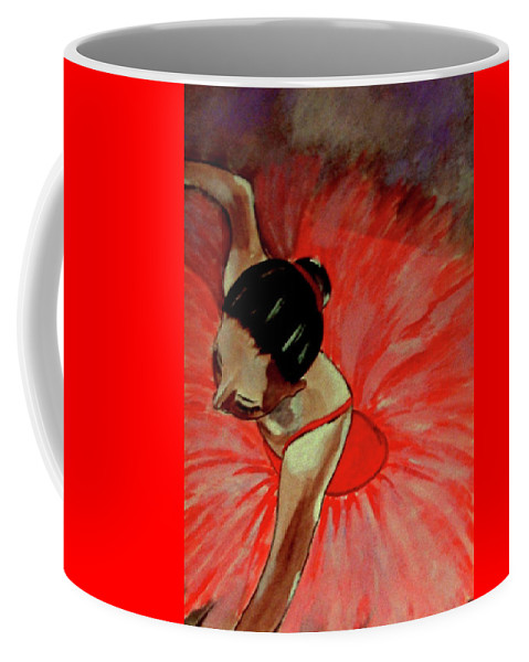 France Coffee Mug featuring the painting Ballerine Rouge by Rusty Gladdish