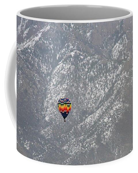 Ballon Coffee Mug featuring the photograph Ballon Verses Mountain by David Arment