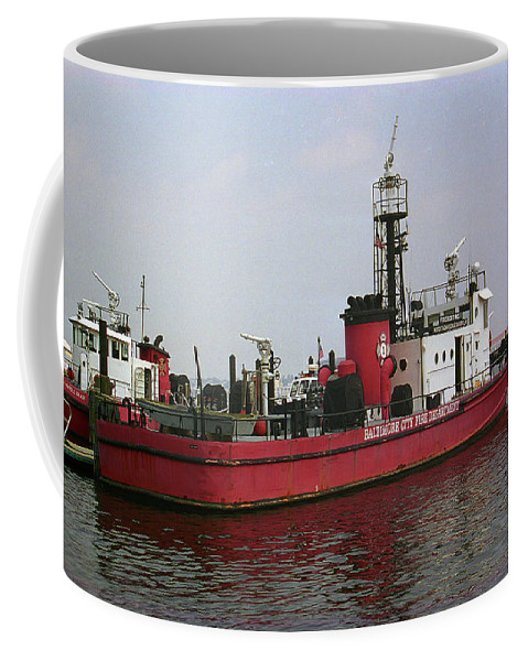 America Coffee Mug featuring the photograph Baltimore Fire Boat 2003 by Frank Romeo