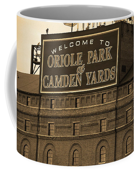 America Coffee Mug featuring the photograph Baltimore Orioles Park At Camden Yards Sepia by Frank Romeo