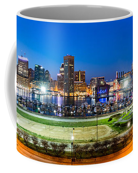 Baltimore Coffee Mug featuring the photograph Baltimore Skyline Panorama At Dusk by Mihai Andritoiu