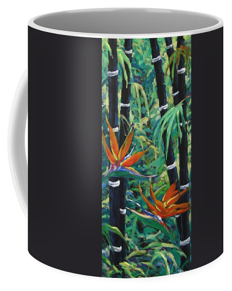 Bamboo Coffee Mug featuring the painting Bamboo And Birds Of Paradise by Richard T Pranke