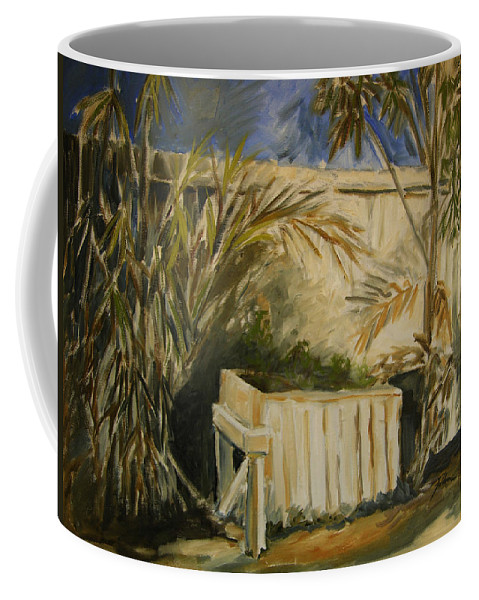 Original Oil Coffee Mug featuring the painting Bamboo And Herb Garden by Julianne Felton