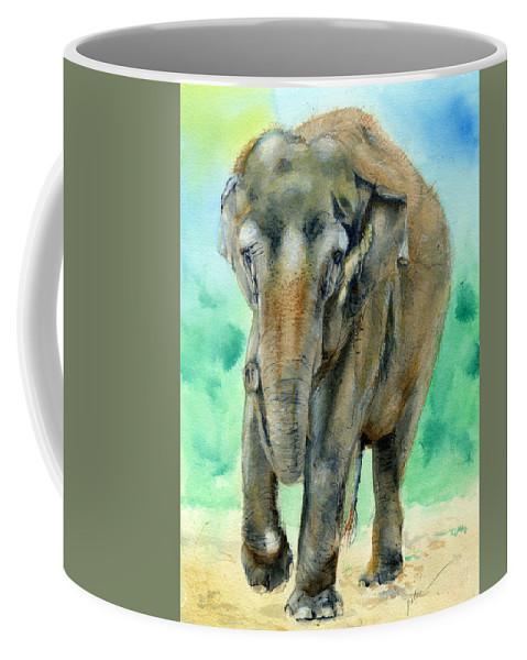 Elephant Coffee Mug featuring the painting Bamboo by Galen Hazelhofer