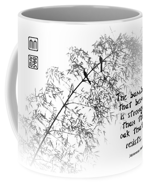 Bamboo Coffee Mug featuring the photograph Bamboo Tree With Two Birds Bends In The Wind by Yali Shi