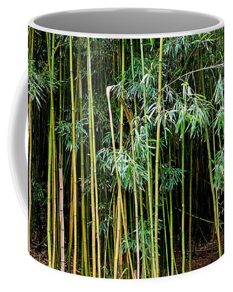 Bamboo Wind Chimes Coffee Mug featuring the photograph Bamboo Wind Chimes Waimoku Falls Trail Hana Maui Hawaii by Michael Bessler