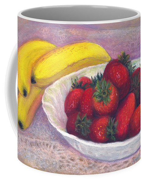 Paintings With Strawberries In Coffee Mug featuring the painting Bananas And Strawberries by Penny Neimiller