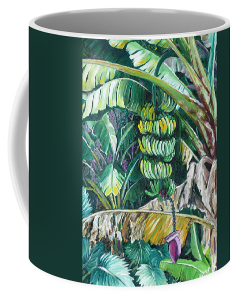 Caribbean Painting Bananas Trees P Painting Fruit Painting Tropical Painting Coffee Mug featuring the painting Bananas by Karin Dawn Kelshall- Best