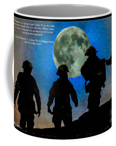 Fireman Coffee Mug featuring the digital art Band Of Brothers - Oil by Tommy Anderson