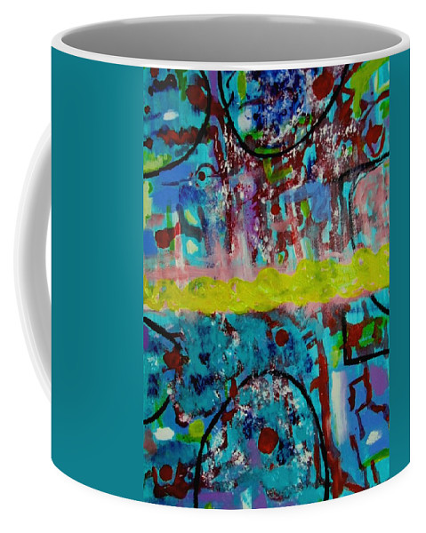 Abstracts Coffee Mug featuring the painting Band Of Gold by Rusty Gladdish