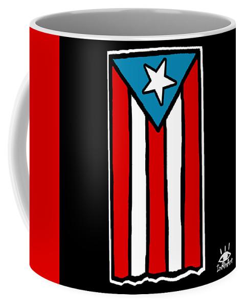 Puerto Rico Coffee Mug featuring the digital art Bandera De Puerto Rico by Ines Rivera