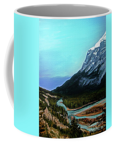 Banff Coffee Mug featuring the painting Banff Alberta Rocky Mountain View by Patricia L Davidson