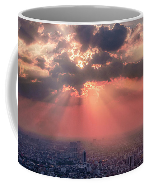 Office Coffee Mug featuring the photograph Bangkok Cityscape234 by Jijo George
