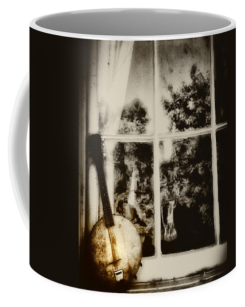 Banjo Coffee Mug featuring the photograph Banjo Mandolin In The Window In Black And White by Bill Cannon