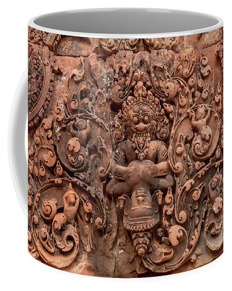Banteay Srei Coffee Mug featuring the photograph Banteay Srei Bas Relief Carvings - Cambodia by Art Phaneuf
