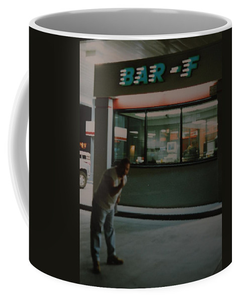 Funny Coffee Mug featuring the photograph Bar F by Rob Hans