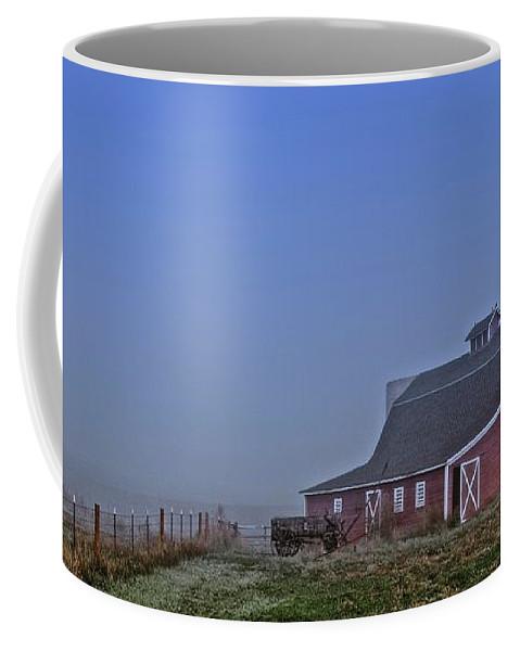 Nature Coffee Mug featuring the photograph Bar W Barn and the Hay Wagon by Zayne Diamond Photographic