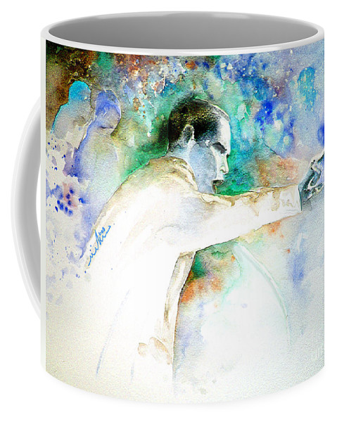 Portrait Barack Obama Coffee Mug featuring the painting Barack Obama Pointing At You by Miki De Goodaboom