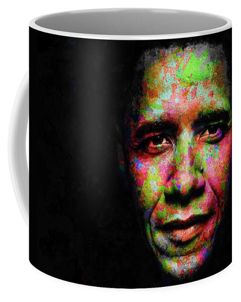 Beautiful Coffee Mug featuring the mixed media Barack Obama by Svelby Art