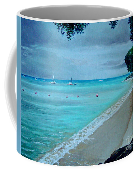 Landscape Coffee Mug featuring the painting Barbados by Elizabeth Robinette Tyndall