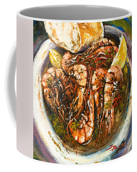 Shrimp Coffee Mug featuring the painting Barbequed Shrimp by Dianne Parks