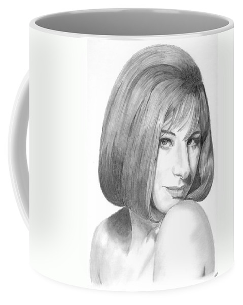 Singer Coffee Mug featuring the drawing Barbra Streisand by Rob De Vries
