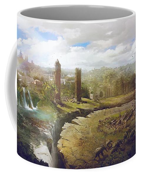 Sciencie Fiction Coffee Mug featuring the painting Barcelona Aftermath La Placa Espanya by Guillem H Pongiluppi