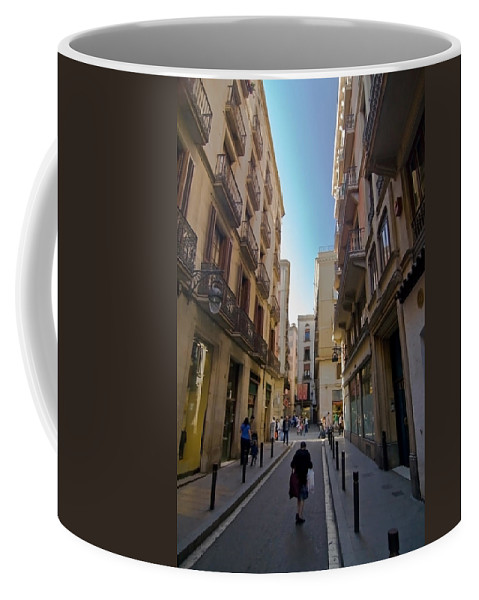 Barcelona Coffee Mug featuring the photograph Barcelona Street Scene by Sven Brogren