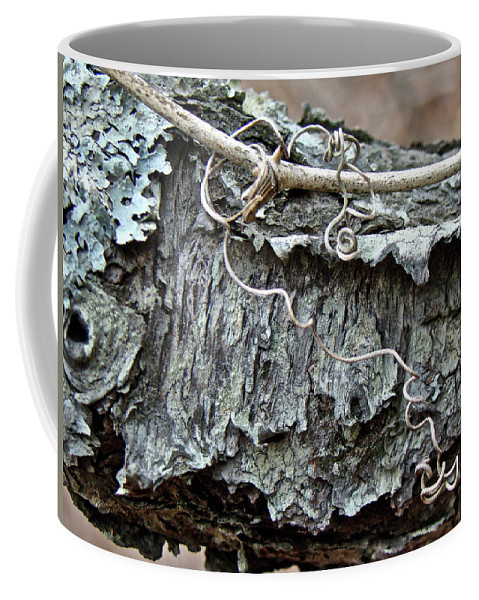 Tree Coffee Mug featuring the photograph Bark - Lichen - Cat Brier Tendrils by Mother Nature