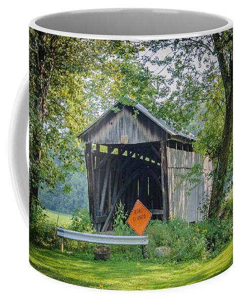America Coffee Mug featuring the photograph Barkhurst Covered Bridge by Jack R Perry