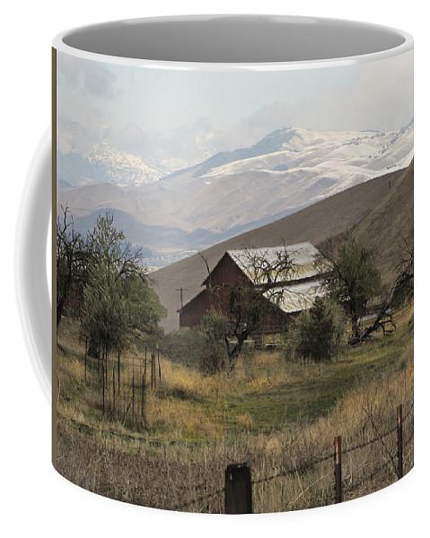 Barn Coffee Mug featuring the photograph Barn And Snow by Karen W Meyer