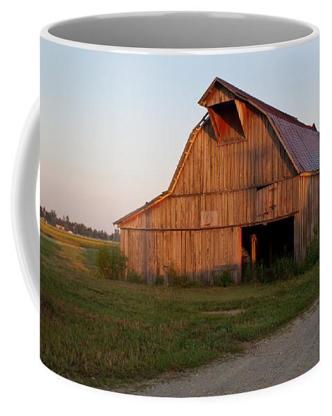 Barn Coffee Mug featuring the photograph Barn At Early Dawn by Douglas Barnett