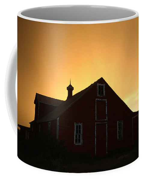 Barn Coffee Mug featuring the photograph Barn At Sunset by Jerry McElroy
