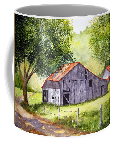 Nc Coffee Mug featuring the painting Barn By The Road by Julia Rietz