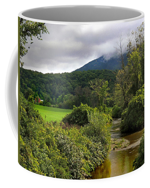 Barn Coffee Mug featuring the photograph Barn By The Stream In Vermont by Nancy Griswold